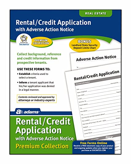 amazon com adams rental and credit application forms pack 8 5 x
