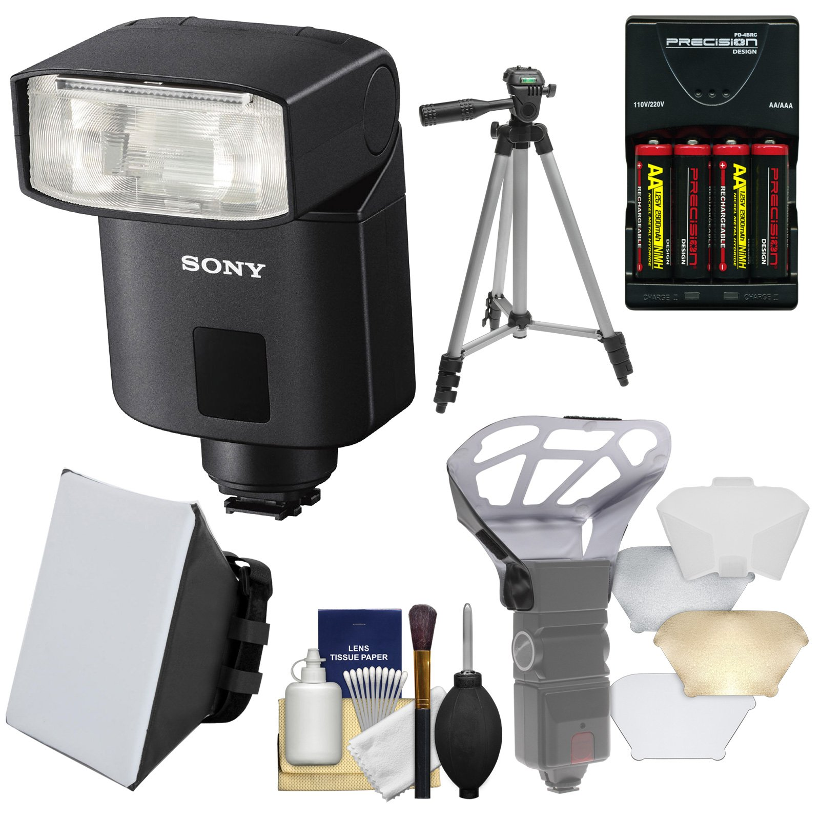 Sony Alpha HVL-F32M Compact Flash with Batteries & Charger + Soft Box + Diffuser + Tripod Kit by Sony
