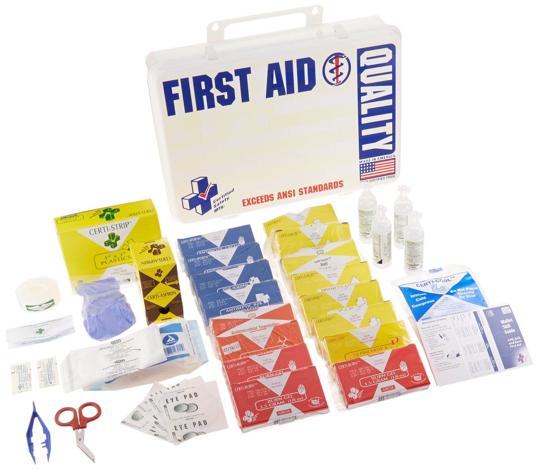 Certified Safety K206-061 36PW ANSI Quality First Aid Kit in Poly White