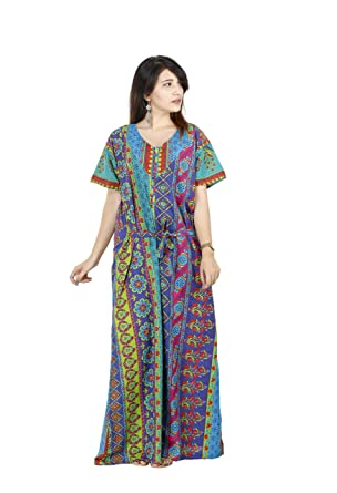 Image Unavailable Handicraft Palace Floral Print Indian Nighty