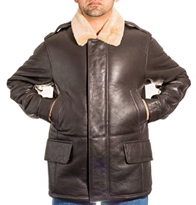 ab234e5470d Mens Brown Luxurious Original Leather Sheepskin Long Winter Smart Casual  Coat with Ginger Fur  Amazon.co.uk  Clothing