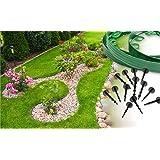 Bordo da giardino, in plastica flessibile, 10 m, per confini, sentieri, prati, vialetti d'accesso Facile da installare, 30 paletti inclusi