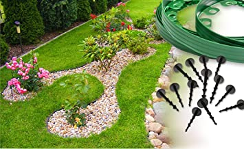 flexible plastic garden edgingnew green edging 10 meters for borderspathslawn - Plastic Garden Edging