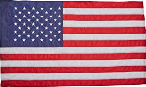 Annin Flagmakers Model 21850 American Flag Nylon SolarGuard NYL-Glo, 2 ½ x 4 ft, 100% Made in USA with Sewn Stripes, Embroidered Stars and Banner-Style Pole Sleeve