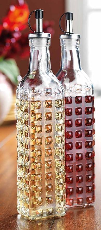 45e61826321e Palais Glassware Oil & Vinegar 17 Oz Clear Glass Dispenser Cruet Bottle,  with Silver and Black Spout - Set of 2 - (Hobnail Finish Square Shaped)