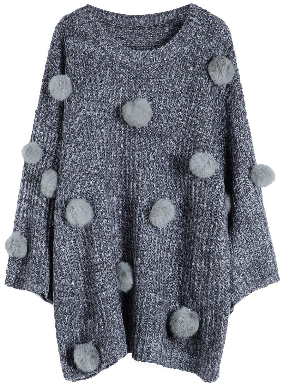 Youshunfushi Women's Ladies Knit Jumper Pom Pom Sweater Pullover Top