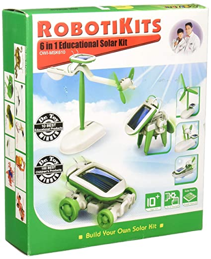 OWI OWI-MSK610 6-in-1 Educational Solar Kit, Includes Airboat, Windmill,  Puppy, Car and Planes