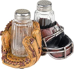 Baseball & Football Sports Salt and Pepper Shaker Set: Unique Vintage Kitchen Decor includes Glass Salt & Pepper Shakers with Stainless Steel Lids