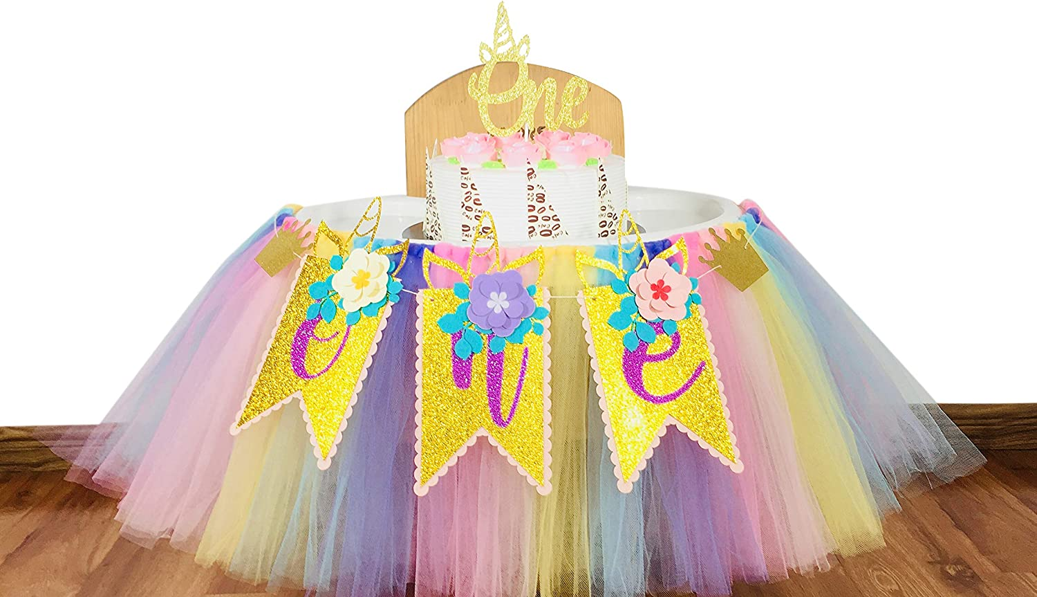 E&L 1st Birthday Girl 3 in 1 High Chair Decorations Set, Unicorn Themed High Chair Tutu, & One Flower Themed Pennant & One Cake Topper, Birthday Party Supplies, One Unicorn Themed Party Decorations