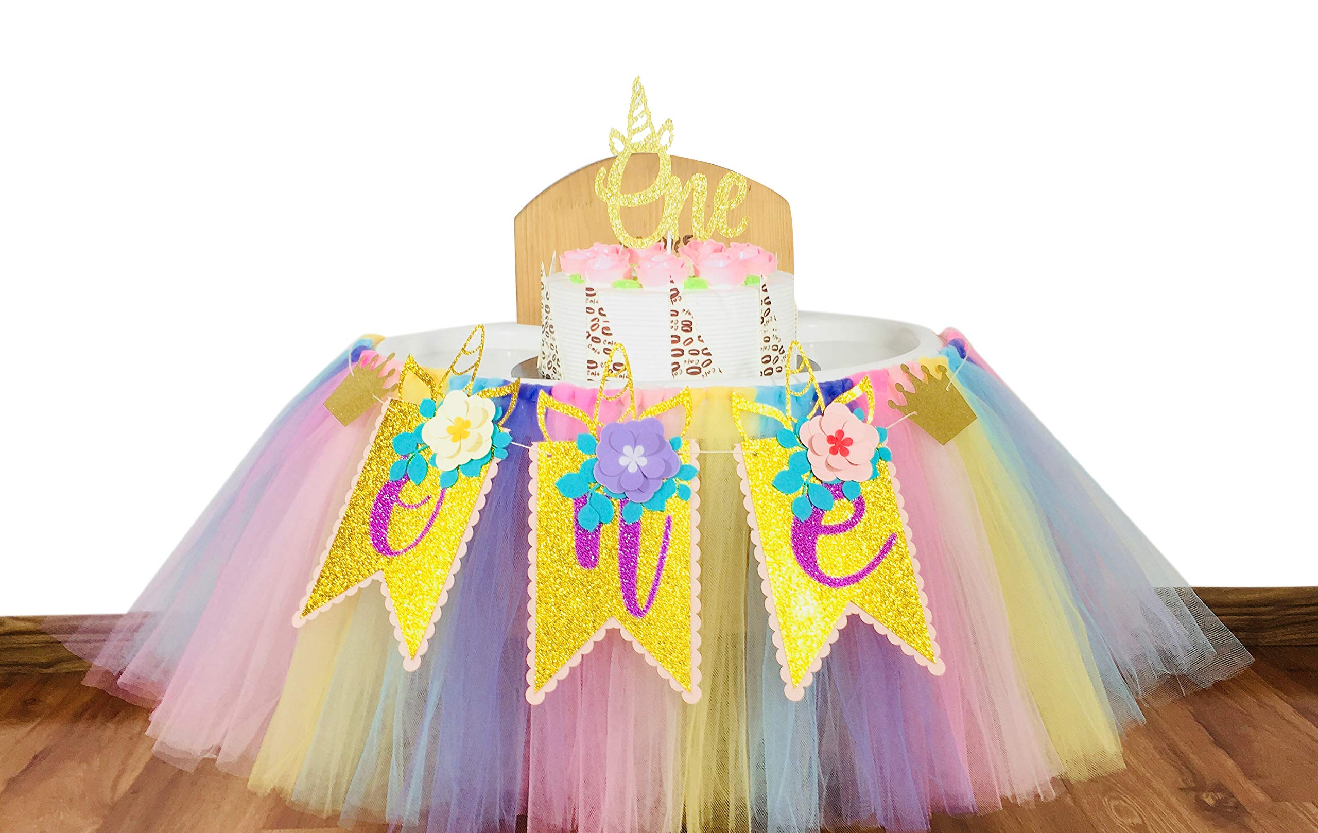 E&L 1st Birthday Girl 3 in 1 High Chair Decorations Set, Unicorn Themed High Chair Tutu, & One Flower Themed Pennant & One Cake Topper, Birthday Party Supplies, One Unicorn Themed Party Decorations by E&L