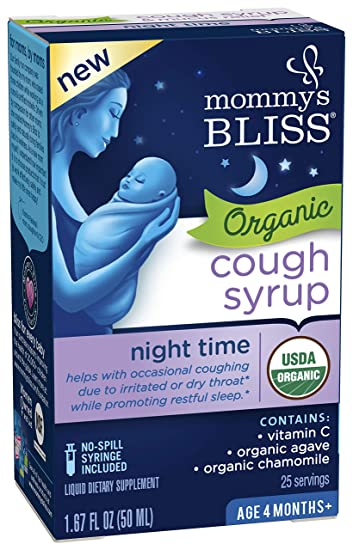 62fd5dc5b Mommy's Bliss Organic Baby Cough Syrup For Night Time, Herbal Supplement  Made From Organic Agave