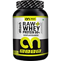 Abbzorb Nutrition Raw plus Whey Protein 80% 26.4g Protein | 5.6g BCAA 30 Servings with Digestive Enzymes (Unflavoured) (1 Kg Jar)