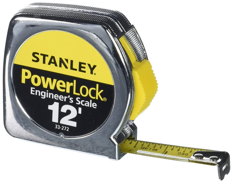 Stanley 33 272 12 by 1 2 Inch Heavy Duty Powerlock Engineer's Scale Tape Rule with Metal Case