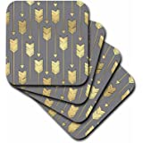 3dRose Grey and Gold Arrows Pattern - Ceramic Tile Coasters, Set of 4 (cst_219529_3)