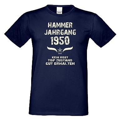 Männer T-Shirt Geschenkidee für Ihn Zum 68. Geburtstag Hammer Jahrgang 1950  Farbe: Schwarz Blau Rot Grün Braun Auch in Übergrößen 3XL, 4XL, 5XL:  Amazon.de: ...