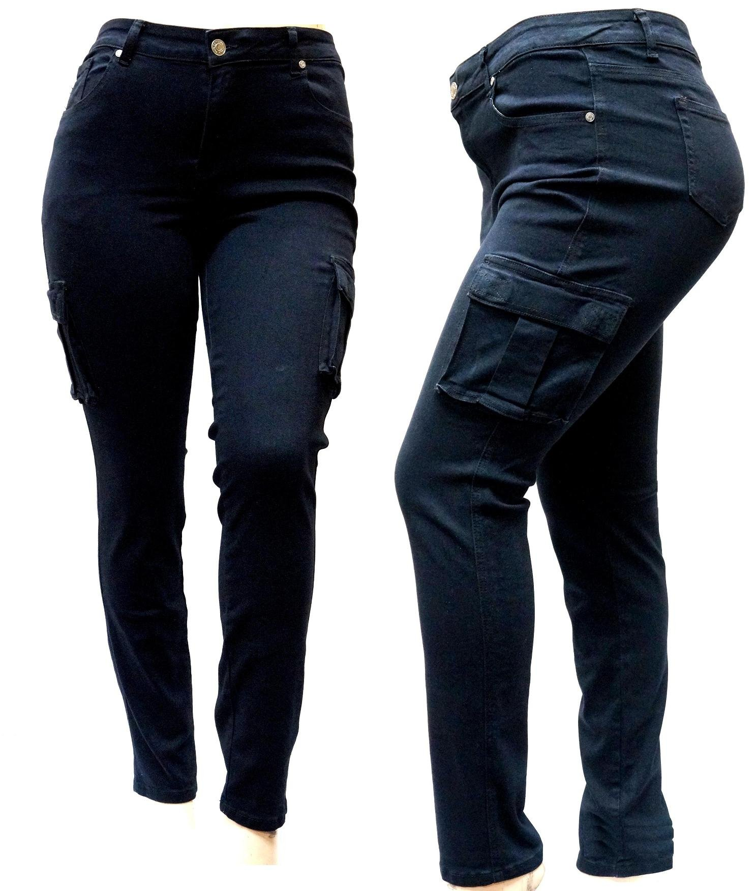 Women's Plus Size Drawstring Relaxed Fit High Waist Full Length Cargo Pants (Black Cargo Skinny Jeans, 22)