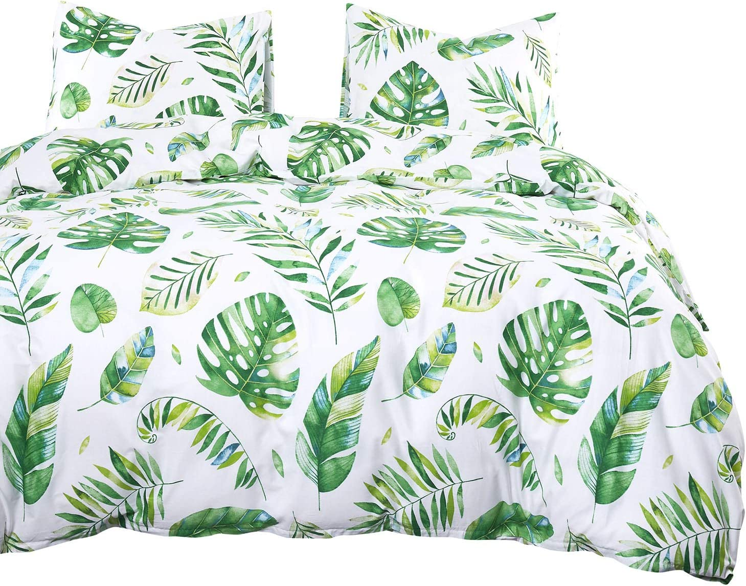 Wake In Cloud - Tree Leaves Comforter Set, 100% Cotton Fabric with Soft Microfiber Fill Bedding, Green Monstera Plant Banana Leaves Pattern Printed on White (3pcs, Queen Size)
