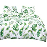 Wake In Cloud - Tree Leaves Comforter Set, 100% Cotton Fabric with Soft Microfiber Fill Bedding, Green Monstera Plant Banana
