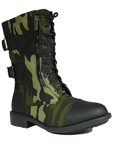 Amazon.com | Fab 45 Womens Camouflage Military Lace up Combat ...