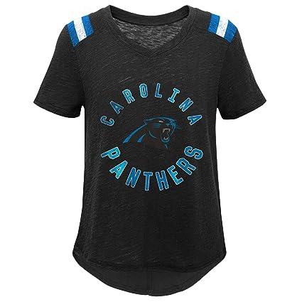 Outerstuff NFL Girls Carolina Panthers Youth Girls Primary Logo Short Sleeve Dolman Tee