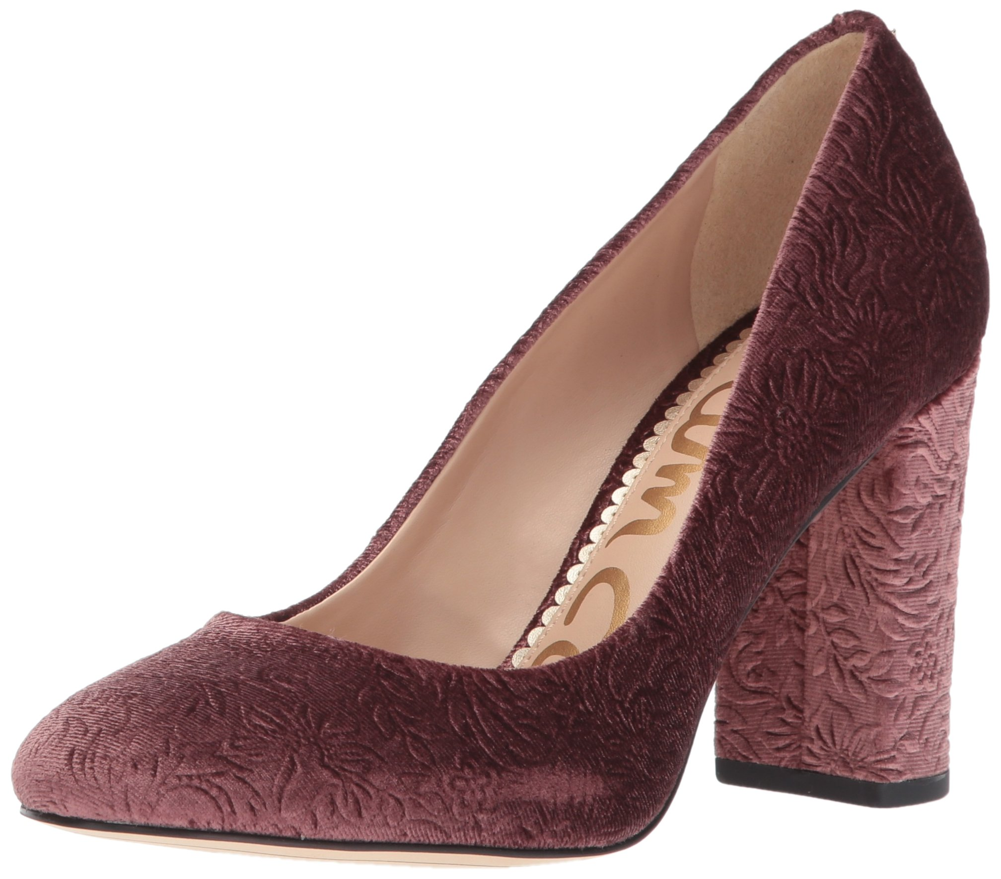 Sam Edelman Women's Stillson Pump, Mauve Wine Embossed Velvet, 9 Medium US