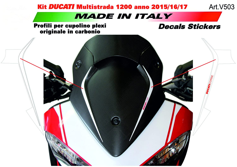 Adesivi per cupolino Ducati Multistrada 1200 2015/16/17 Bianco Vulturbike