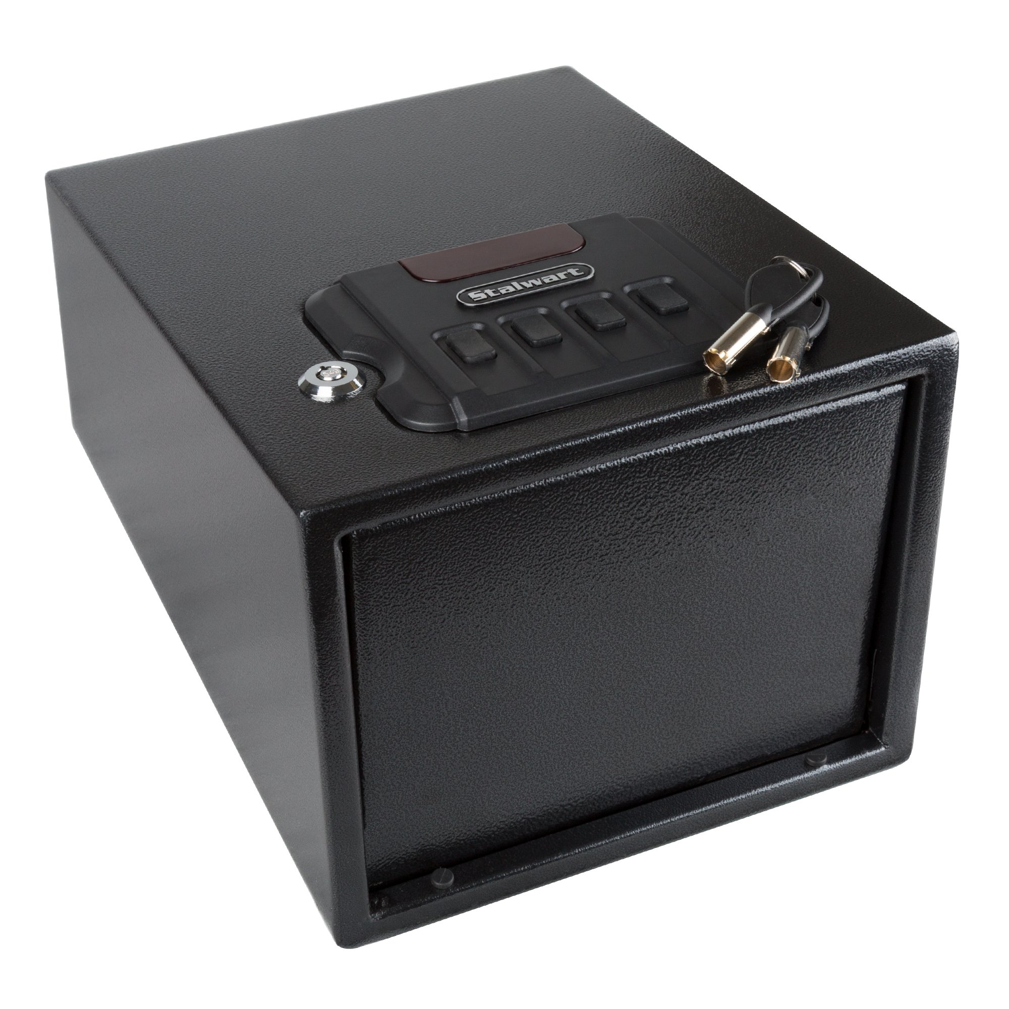Gun Safe with Digital Lock and Manual Override Keys- 1.2 mm Thick Walls, 1.5 mm Thick Spring Loaded Door- Secure Valuables and Pistols by Stalwart
