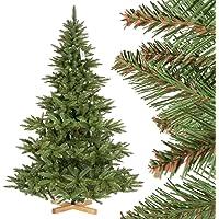 FairyTrees Arbre Sapin Artificiel de Noêl Sapin NORDMANN, Tronc Vert, Matière PVC, Socle en Bois, FT14/ FT15