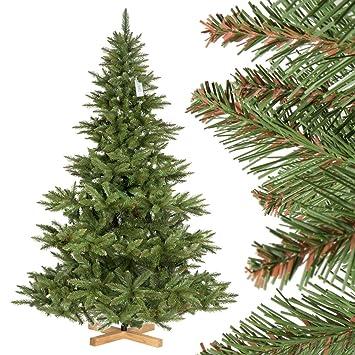 Künstlicher Weihnachtsbaum Wie Echt.Fairytrees Künstlicher Weihnachtsbaum Nordmanntanne Grüner Stamm Material Pvc Inkl Holzständer 220cm Ft14 220