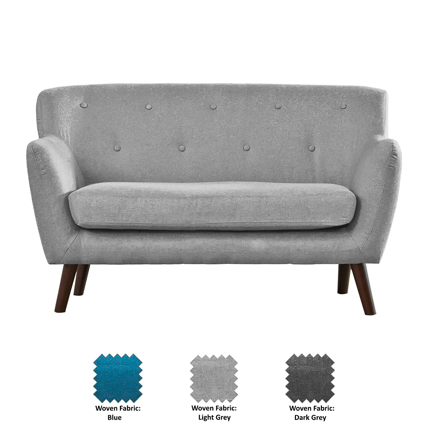 Nashville Woven Fabric Sofa Suite - 1/2/3/3+2 Seat in Teal/Dark Grey/Light Grey (Dark Grey, 1 Seat) Sofa-Collection