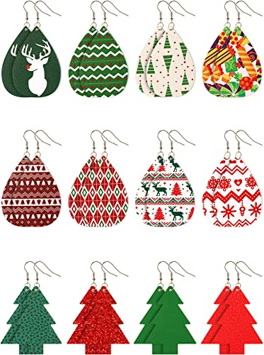 Teardrop {2.5} Leather Earrings Red Earrings Red and Green Chevron Christmas Faux Leather Earrings Christmas Earrings Oval Earrings