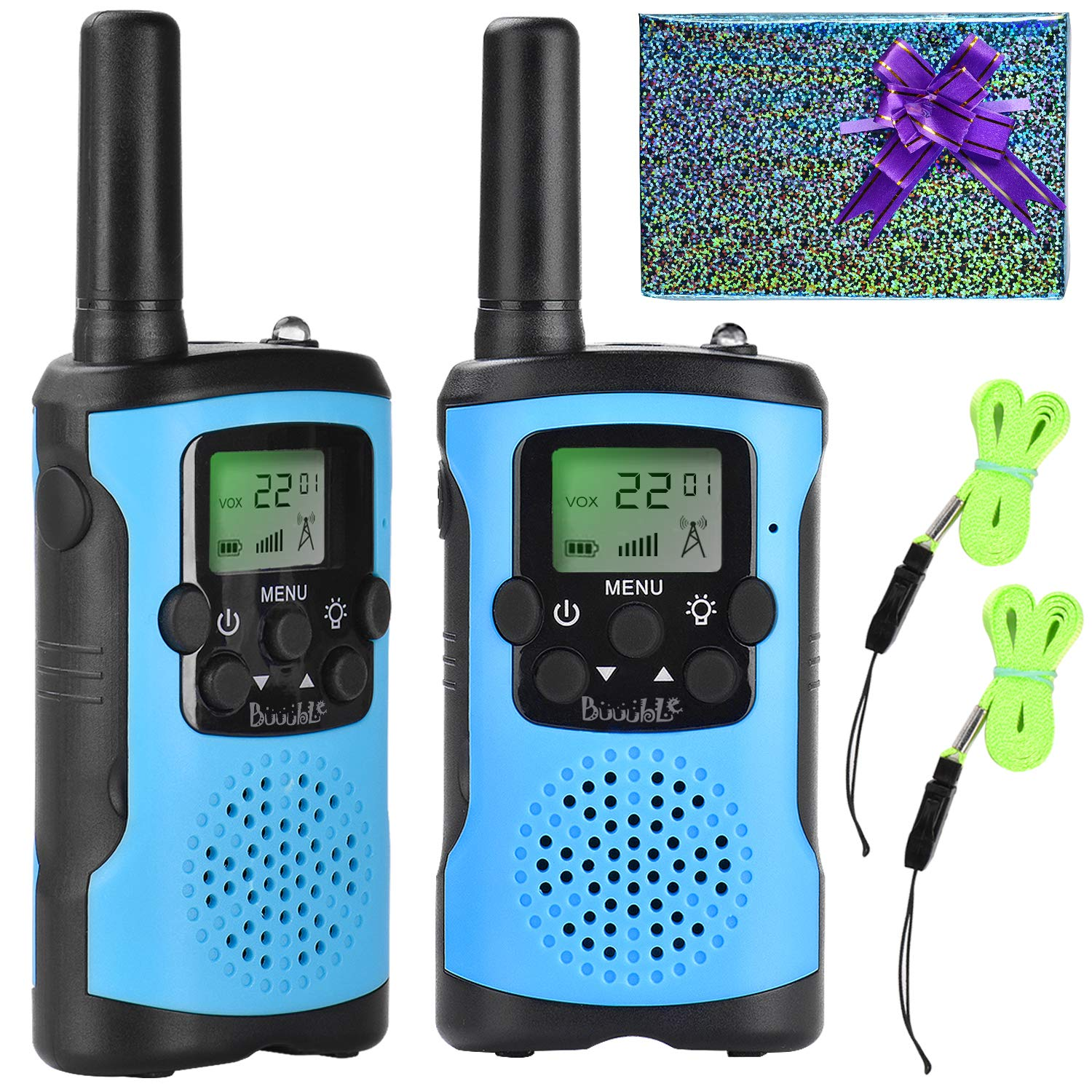 Walkie Talkies for Kids 22 Channel 3 Mile Long Range Many People Use It to Prevent Children's Myopia and Away from Electronic Games Best Birthday Gifts for 4-6 Year Old Boys Girls More Fun Game (Blue) by Buuuble (Image #1)