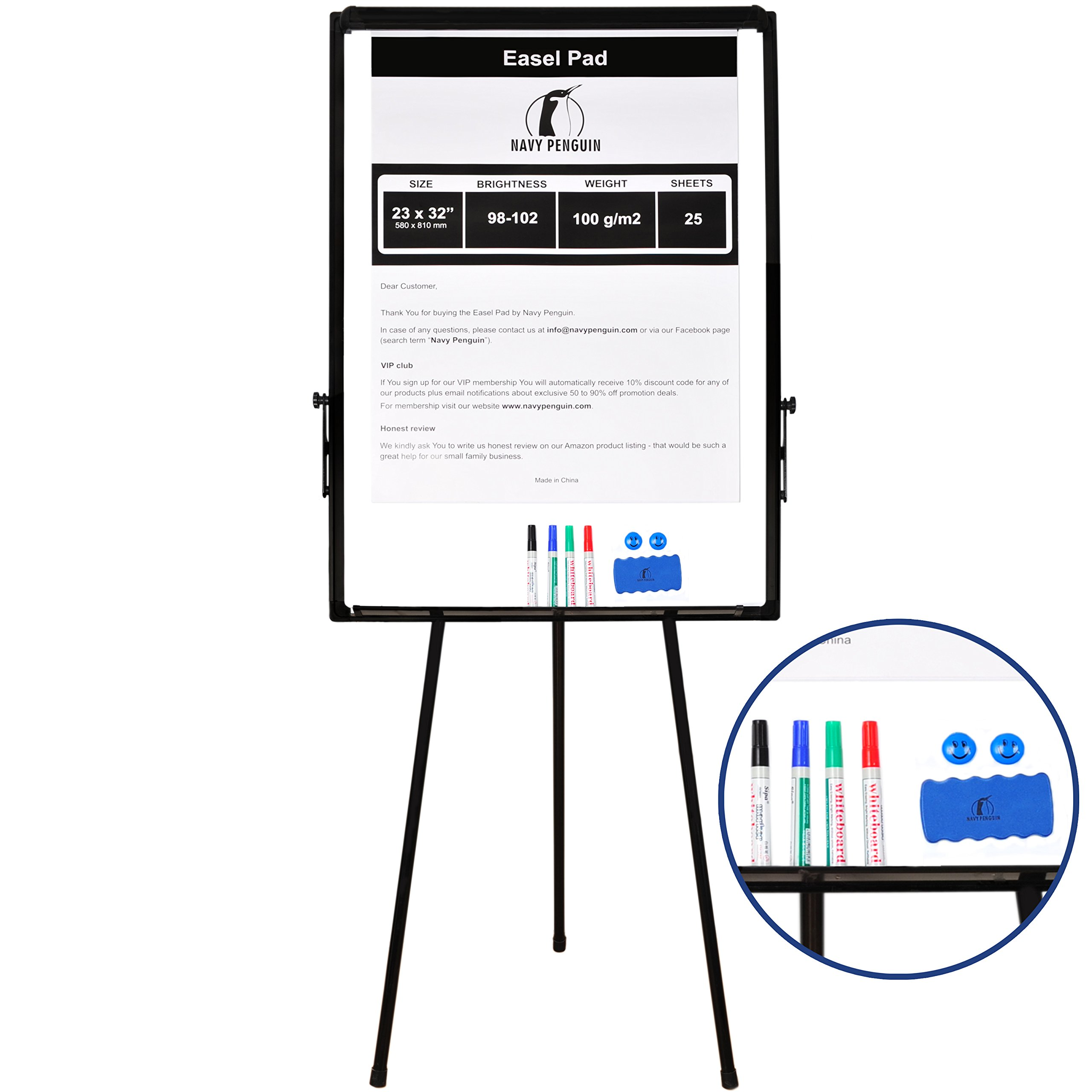 Whiteboard Easel / Flipchart Set - Tripod White Dry Erase Board 40 x 28'' + 1 Magnetic Dry Eraser, 4 Dry-erase Colorful Marker Pens, 2 Magnets and 23 x 32'' Flip Chart Paper Pad Pack 25 pcs by Navy Penguin