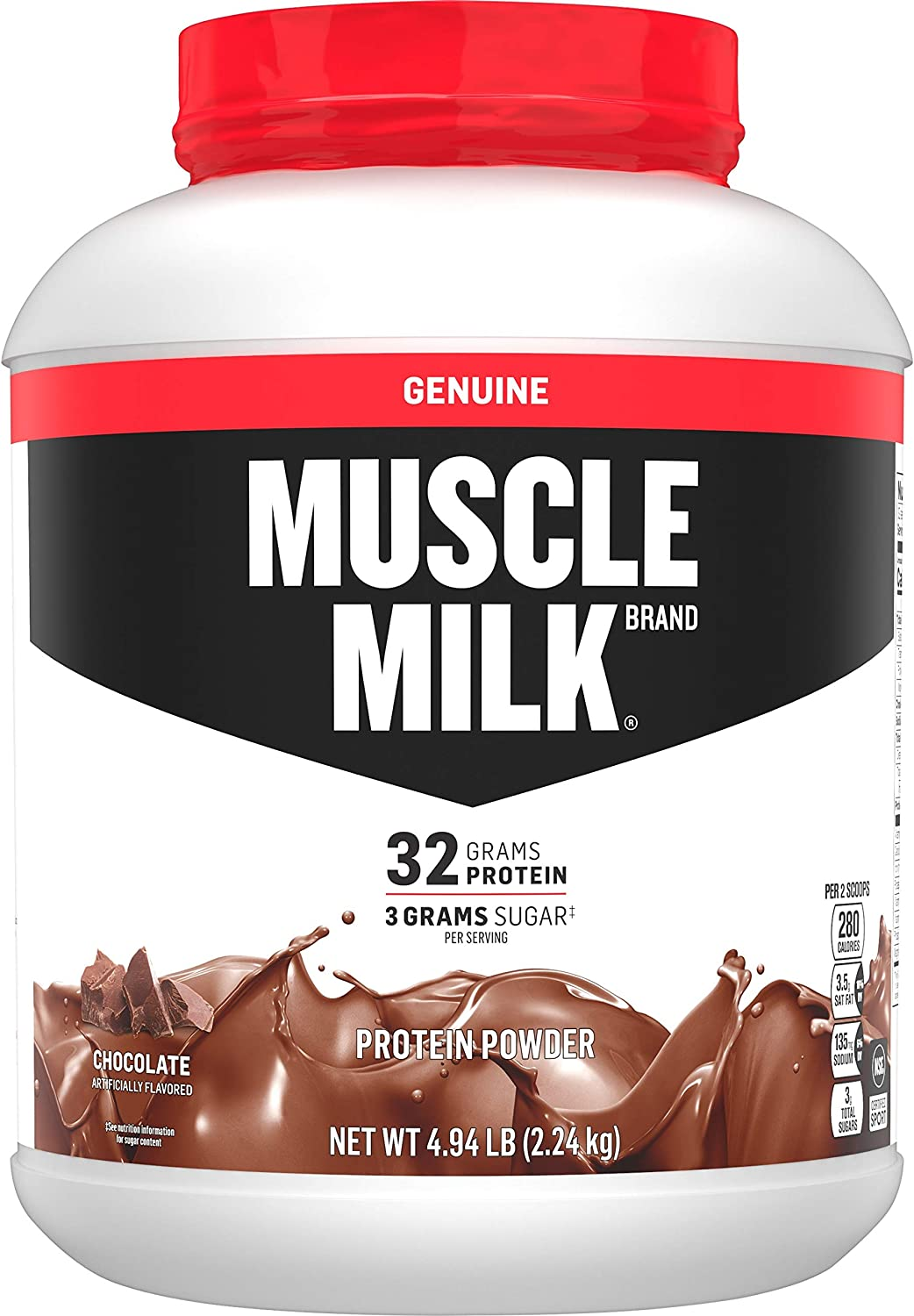 Amazon.com: Muscle Milk Genuine Protein Powder, Chocolate, 32g Protein,  4.94 Pound, 32 Servings: Health & Personal Care