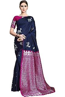 05445876ca27a Soru Fashion Women s Animal Print Design Kanjivaram Soft Silk Saree with Blouse  Piece (Cott-