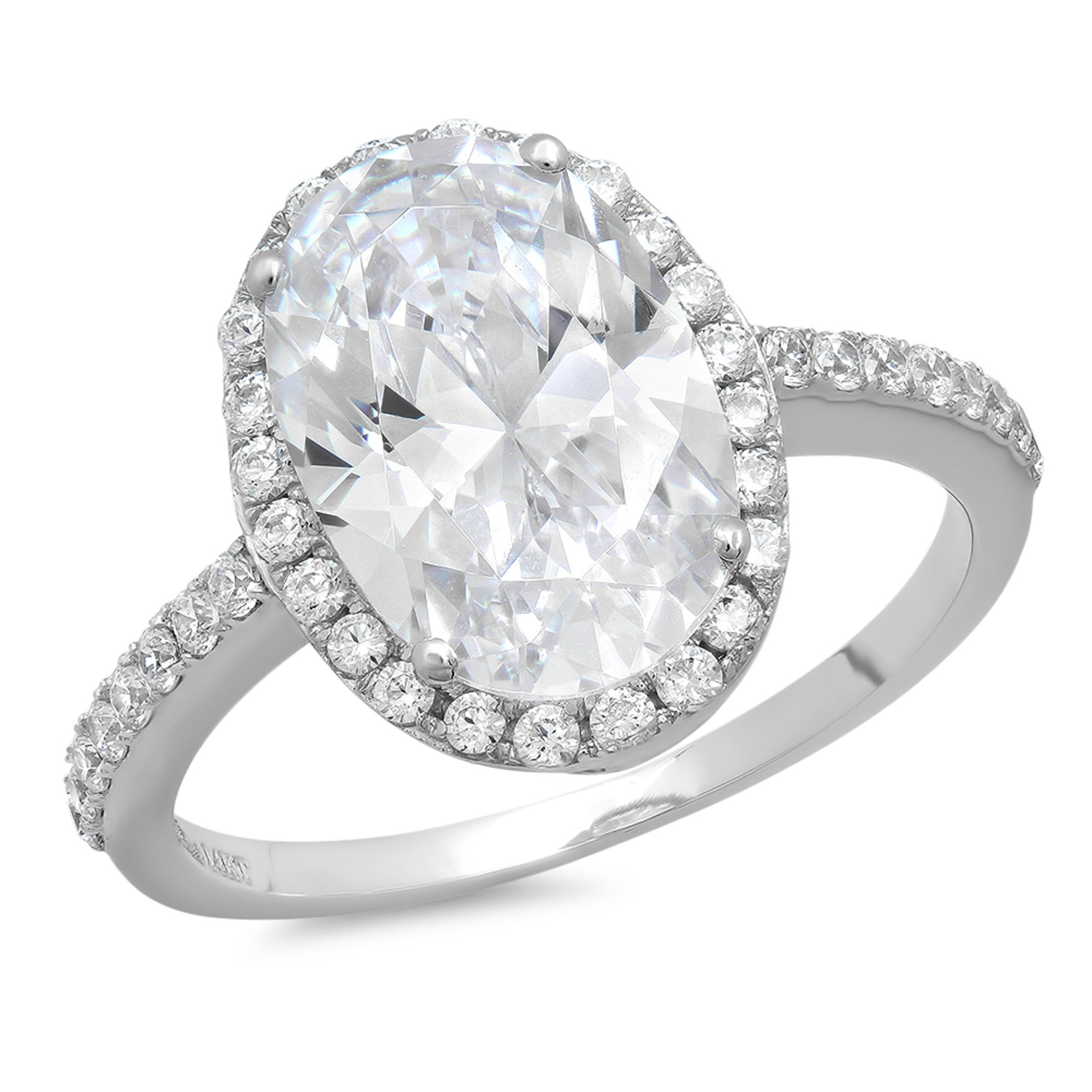 3.58 CT Oval Cut CZ Halo Solitaire Wedding Engagement Ring Bridal band 14k White Gold, Size 10.5