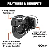 CURT 48210 Pintle Hook Hitch, 20,000 lbs. GTW, Fits 2-1/2-Inch or 3-Inch Lunette Ring, Pintle Mount Required