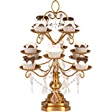 Madeleine Collection' 12 Piece Cupcake Stand, Dessert Display Tower with Crystal Dangles (Gold)