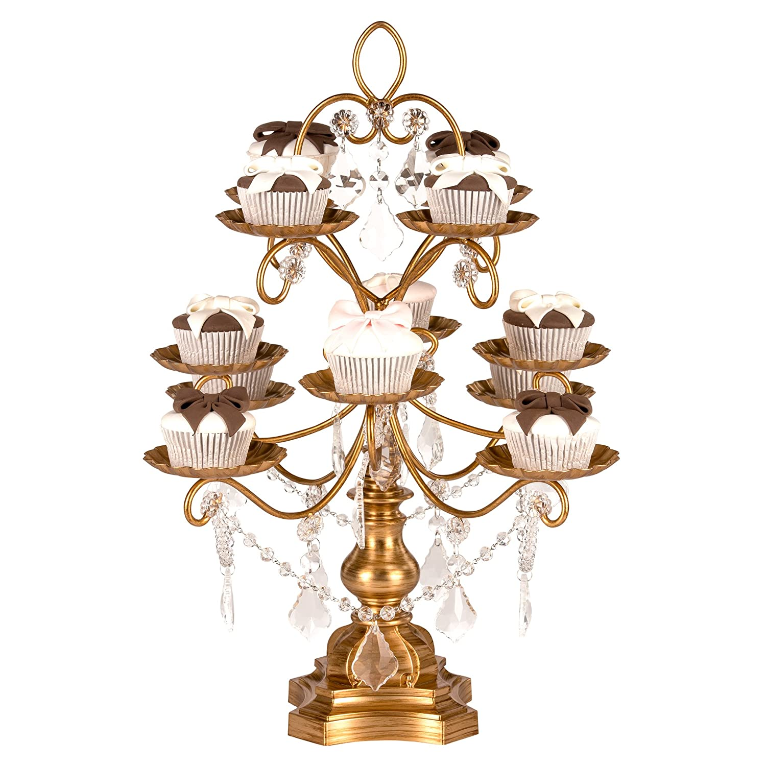 Amalfi Décor Madeleine Collection Antique Gold 12-Piece Cupcake Stand, Metal Tiered Cake Dessert Display Tower Holder with Crystals CS302MG