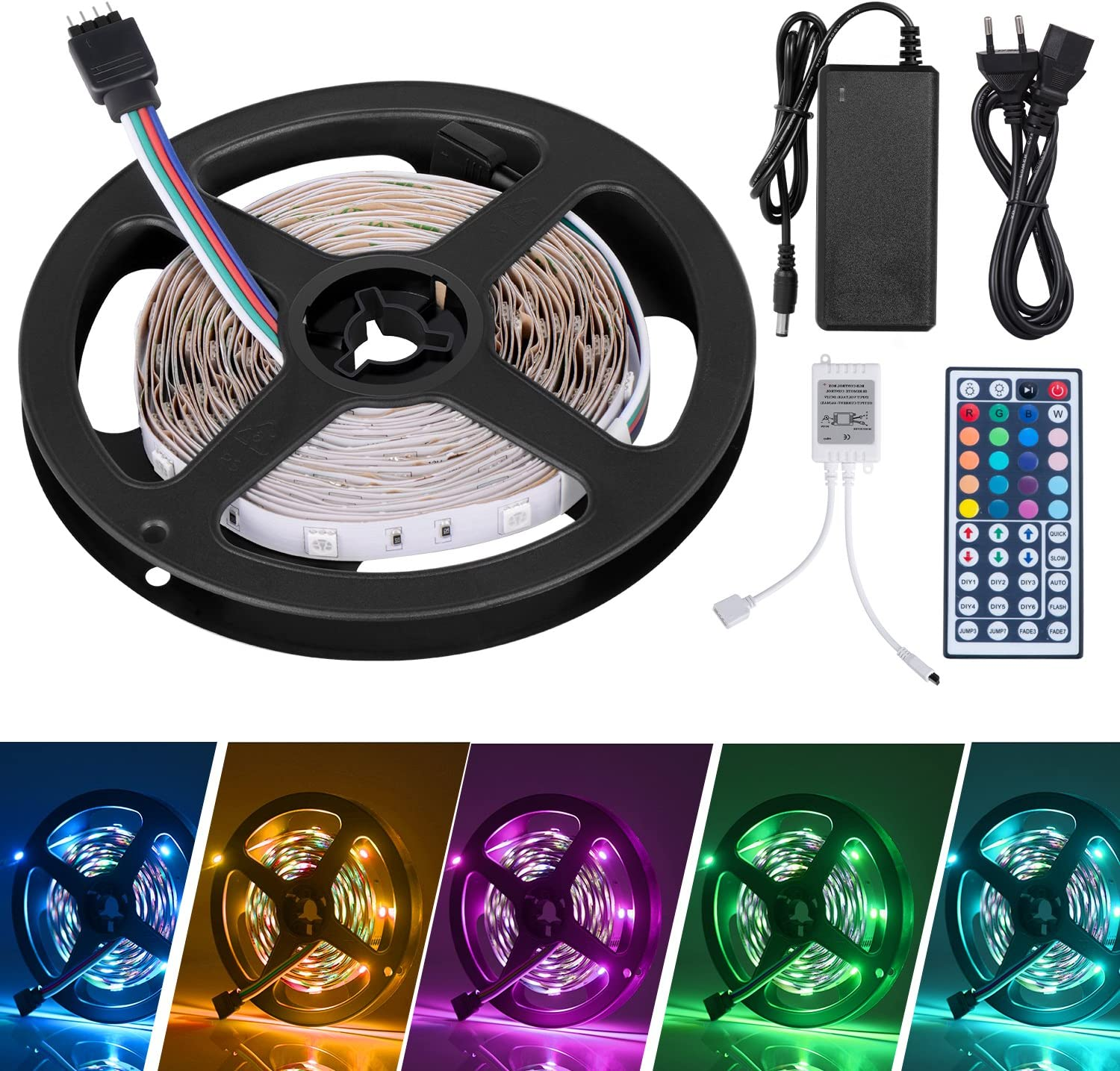LED Striscia 5M RGB 5050,Duractron led striscia 150 led per Natale,Feste, Decorazioni.(Non Impermeabile)
