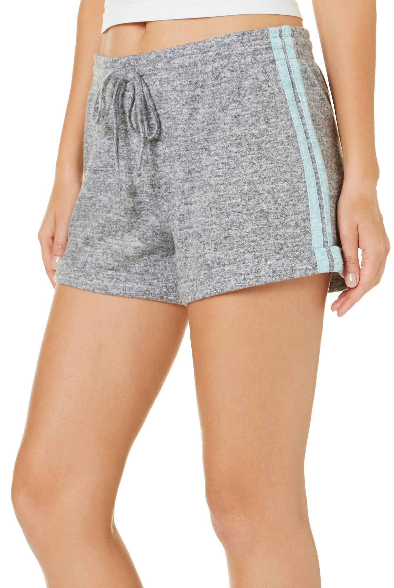 Almost Famous Juniors Solid Roll Cuff Pull On Shorts Small Grey