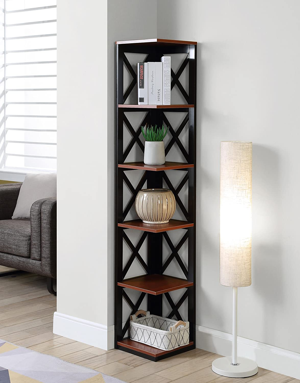 Convenience Concepts Oxford 5-Tier Corner Bookcase, Black 203080BL