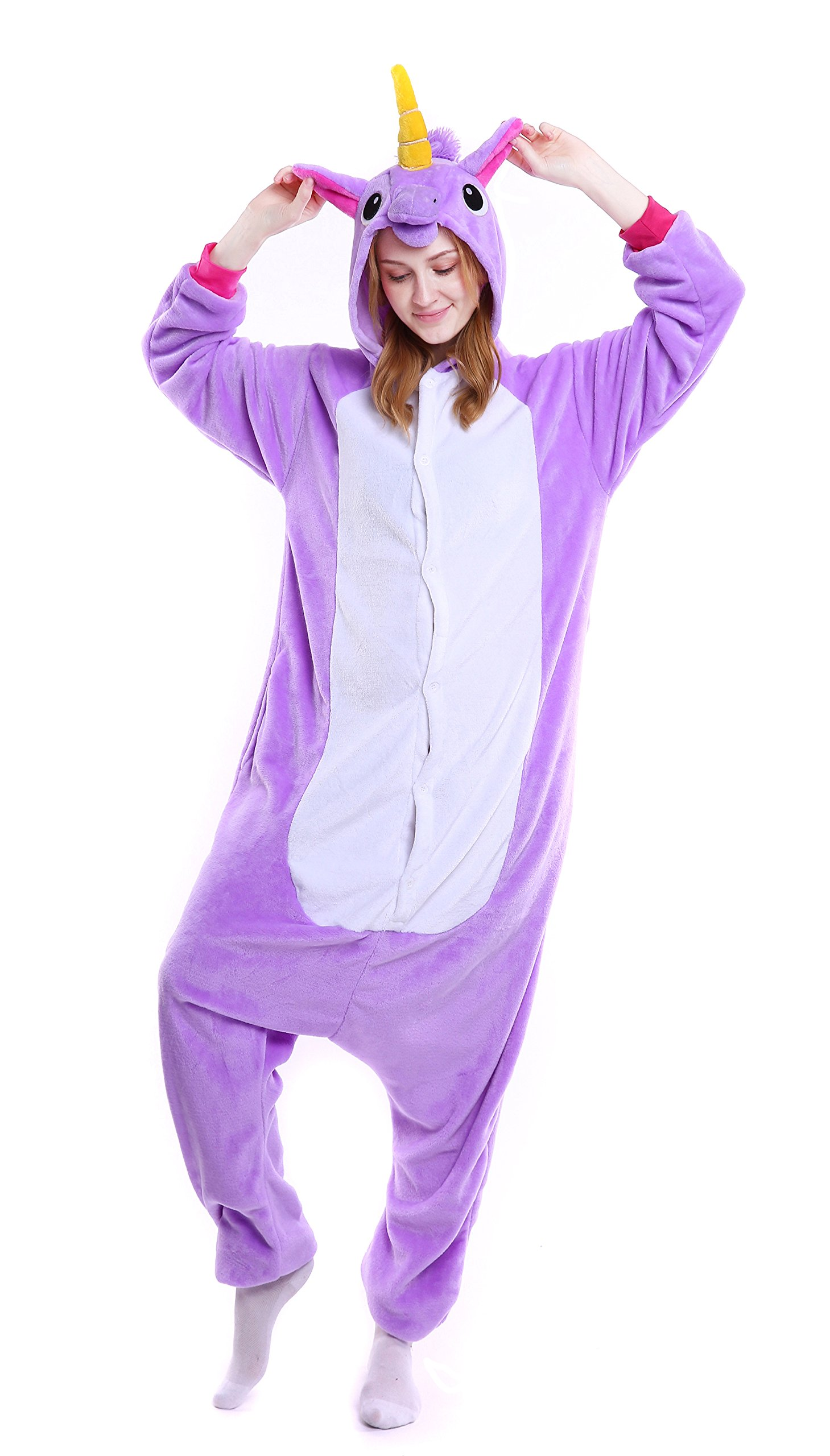 Dingwangyang Adult Unicorn Pajamas Animal Costume Cosplay Onesie Kigurumi Halloween Gift Purple Unicorn L