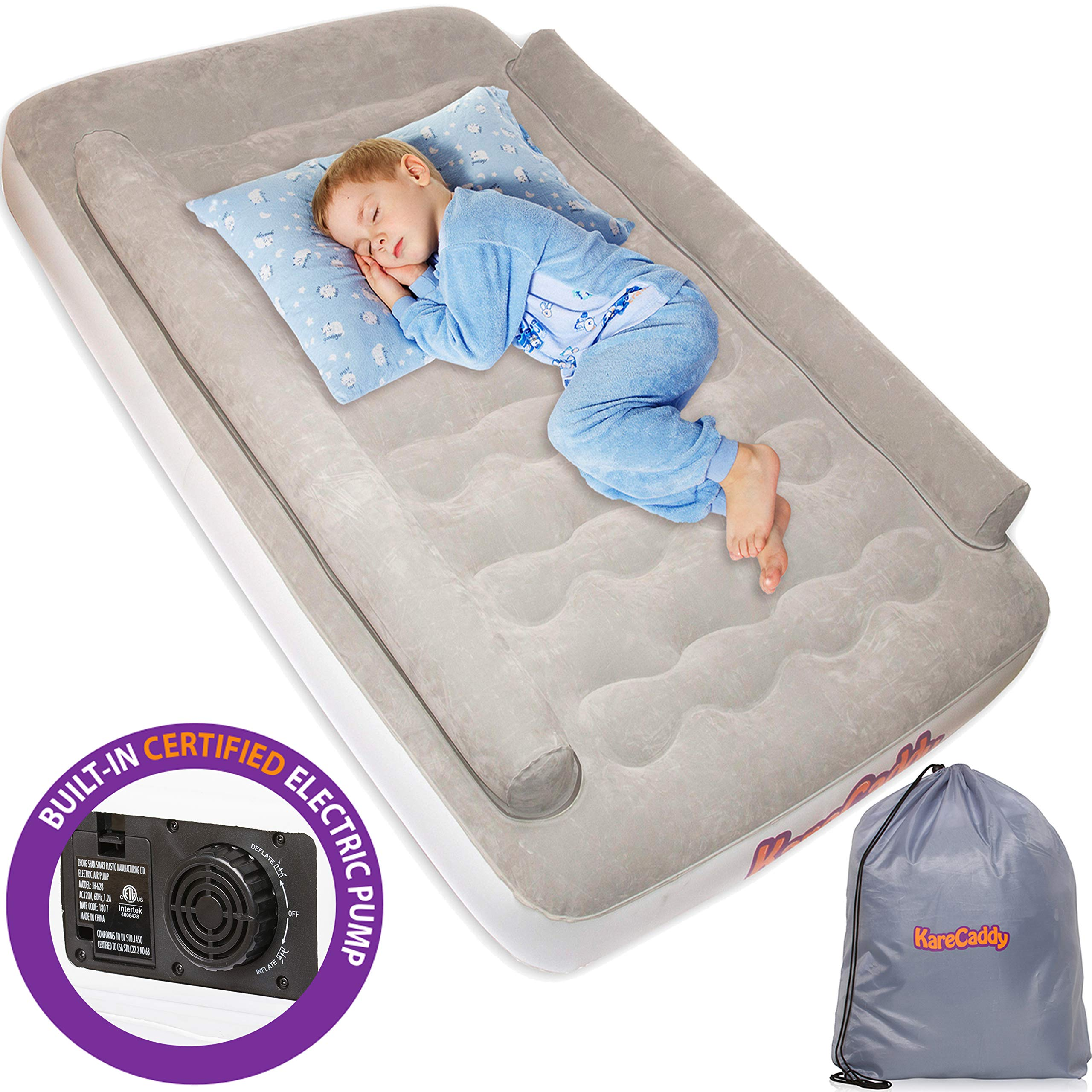 KareCaddy Toddler Air Mattress - with Built-in Electric Pump, Kids Air Mattress with Sides Rails, Inflatable Toddler Travel Bed with Bumpers, Camping Air Bed, Portable Kids Air Beds