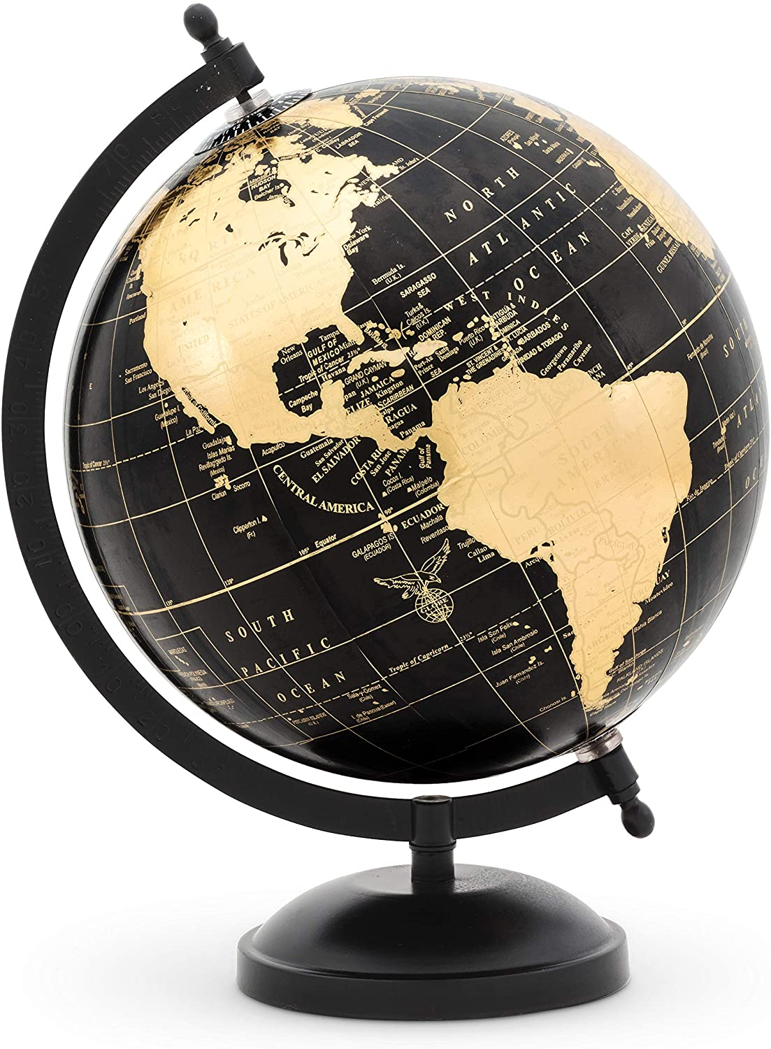Abbott Collection 57-LATITUDE-10 Globe on Stand-Blk/Gold-11 H, Black/Gold