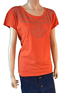 d830e49a9497b3 Schönes Damen Top Shirt Gr. 36/38 in hell Orange Spitze Sexy 940461 ...