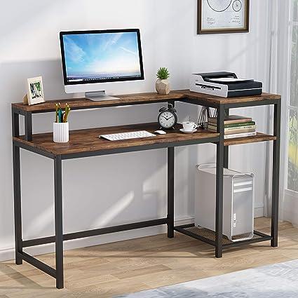 Tribesigns Mesa de Ordenador, Escritorio de Computadora con Estantería & Soporte de Monitor, Industrial Mesa de Estudio para Oficina, Dormitorio ...
