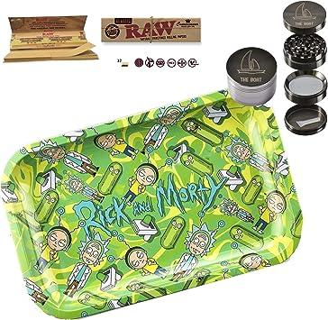 Kit para fumar - Bandeja para liar RICK AND MORTY 27,5cm x 17,5cm + RAW