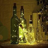 LED Bottle Light(9 Packs) with Screwdriver, iado Wine Bottle Lights 2M/20 LEDs Copper Wire String Lights for Halloween Christmas Party Decor DIY LED Cork Lights for Bottle Warm White Lights