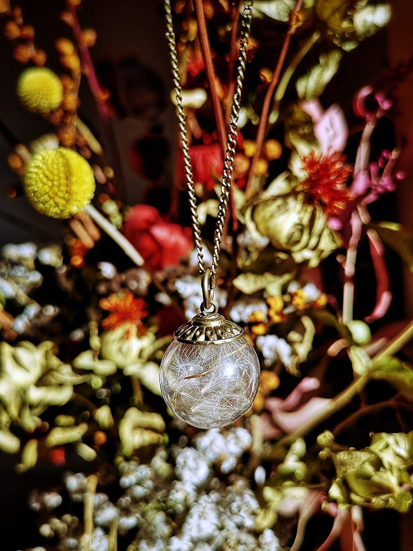 fcebda828e51 Colgante pequeño boho de Diente de León - Joya de estilo Vintage con flores  secas naturales - Bola de cristal grande de 20mm - Regalos originales para  mujer ...